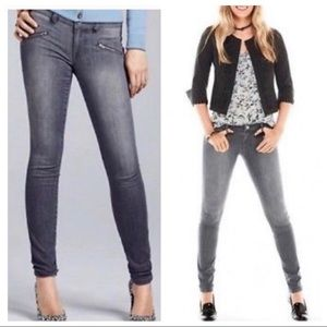 CAbi Skinny Washed Gray Jeans with Zipper Pockets